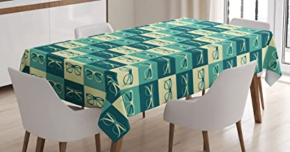 Ambesonne Indie Tablecloth, Pattern with Eyeglasses in Vintage Style Hipster Cool Design Modern, Rectangular Table Cover for Dining Room Kitchen Decor, 60