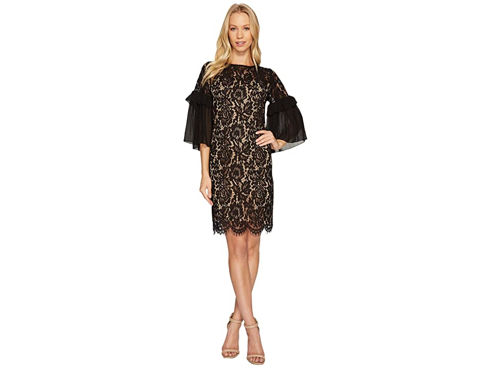 Karen Kane Ruffle Sleeve Lace Dress (Black/Nude) Women