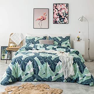 YuHeGuoJi 3 Pieces Duvet Cover Set 100% Cotton Queen Size Green Banana Leaf Bedding Set 1 Tropical Plant Print Duvet Cover with Zipper Ties 2 Pillowcases Hotel Quality Soft Comfortable Lightweight