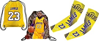 Forever Fanatics James #23 Basketball Gift Set ✓ James #23 Picture Drawstring Backpack Gym Bag & Matching Picture Compression Shooter Arm Sleeve