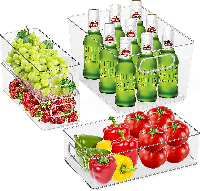 Refrigerator Organizer Bins Woochy Set 4 Plastic Max 77% OFF Pantr Clear 25% OFF of
