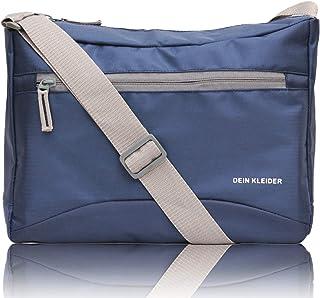 Dein Kleider Nylon Sling Cross Body Travel Office Business Messenger one Side Shoulder Bag for Men and Women (Navy Blue)