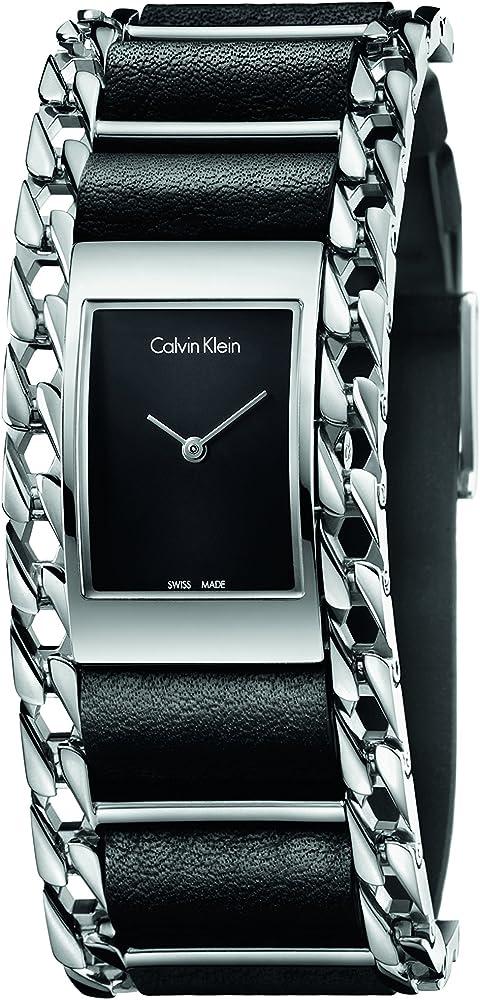 Calvin klein,orologio analogico al quarzo per donna, con cinturino in pelle e cassa in acciaio inossidabile K4R231C1