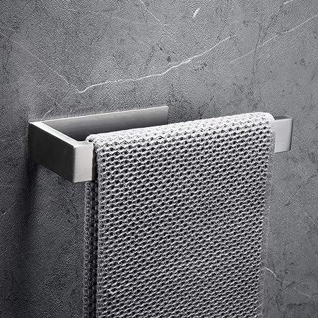 CCKOLE Porte-serviettes sans perçage en acier inoxydable 304 - Autocollant - Pour salle de bain - Argenté brossé - Sans perçage