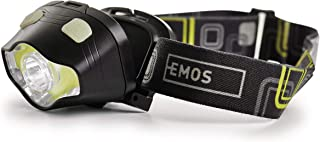 EMOS Waterdichte hoofdlamp met rood licht, groen licht, 7 lichtmodi, IP43 draaibare hoofdlamp met 160 st. lichtduur, 220lm...