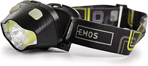 EMOS Waterdichte hoofdlamp met rood licht, groen licht, 7 lichtmodi, IP43 draaibare hoofdlamp met 160 st. brandduur, 220lm...