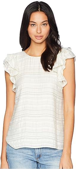 Flounce Sleeve Fine Stripe Top