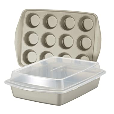 Rachael Ray 47681 Nonstick Bakeware Set without Grips  includes Nonstick Baking Pan with Lid and Muffin Pan / Cupcake Pan - 3 Piece, Silver