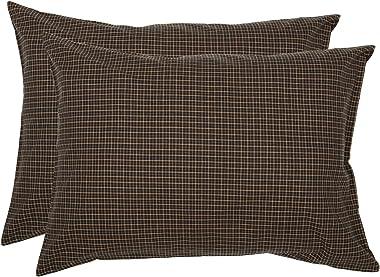 VHC Brands Primitive Bedding Prim Grove Cotton Check Standard Pillow Case Set of 2, Plaid