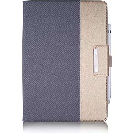Thankscase iPad 9.7 inch 2018 2017 Case, iPad Air 2 case, Rotating Stand Case Smart Cover with Stand Build-in Wallet Pocket and Hand Strap for Apple iPad 6th Gen 5th Gen, (Grey Gold)