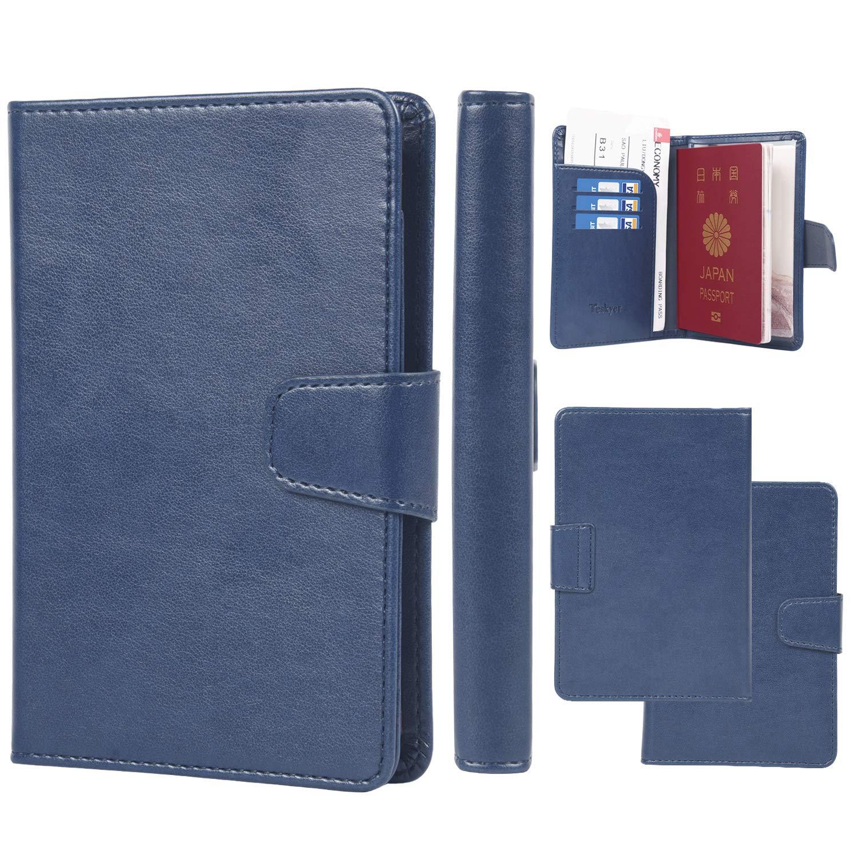 パスポートケース 出張用 スキミング防止 パスポートカバー Teskyer 海外旅行 高級PU パスポート カードケース 多機能収納ポケット付き