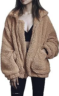 Fluffy Women Coats Faux Wool Blend Warm Winter Jacket Zip Up Long Sleeve Oversized Fashion Outerwear