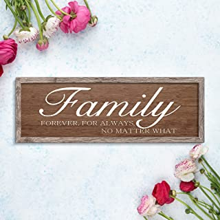 Family Forever.For Always. No Matter What. Rustic Wood Wall art Sign Board Vintage Slat sign Wall Decor for Home Decoratio...
