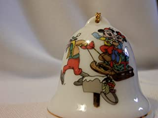 Grolier Collectibles Disney Porcelain Bell, Goofy Pulling Mickey and Minnie on Sled