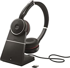 Jabra Evolve 75 UC Wireless Headset, Stereo – Includes Link 370 USB Adapter and Charging Stand – Bluetooth Headset with World-Class Speakers, Active Noise-Cancelling Microphone, All Day Battery