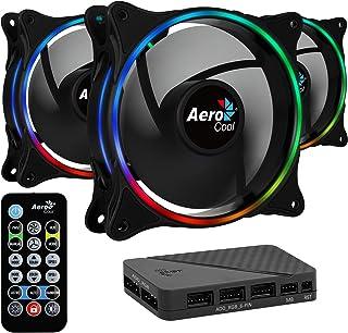 Aerocool ECLIPSE,  3 ventiladores, iluminación RGB, aspas curvas, antivibración