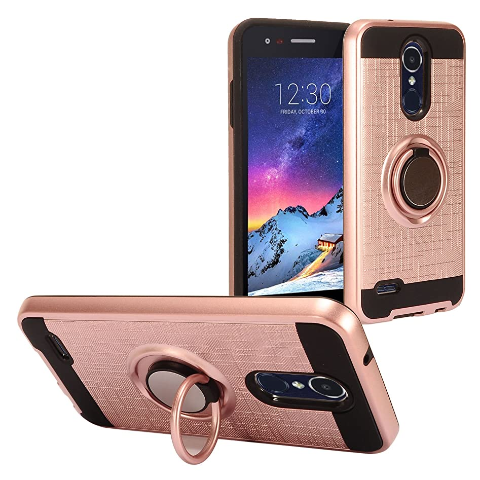 Eaglecell - For LG Aristo 2, Aristo 2 Plus, Zone 4, Risio 3, Fortune 2, Tribute Dynasty, LG K8/K8+ (2018) - Brushed Style Hybrid Hard Case with Ring Stand - Black/Rose Gold