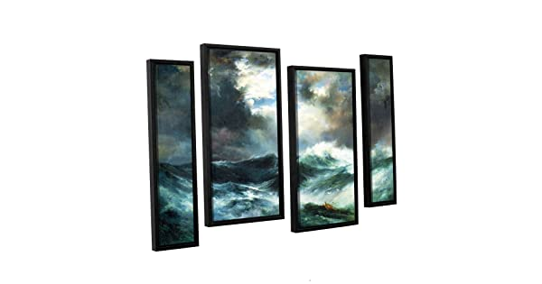ArtWall 1tmo001i2436f 4 Piece Thomas Morans Moonlit Shipwreck at Sea 1901 Gallery Wrapped Floater Framed Canvas Staggered Set 24 x 36