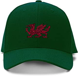415a00e92 Wales Flag Dragon Seal Embroidery Adjustable Structured Baseball Hat Forest  Green