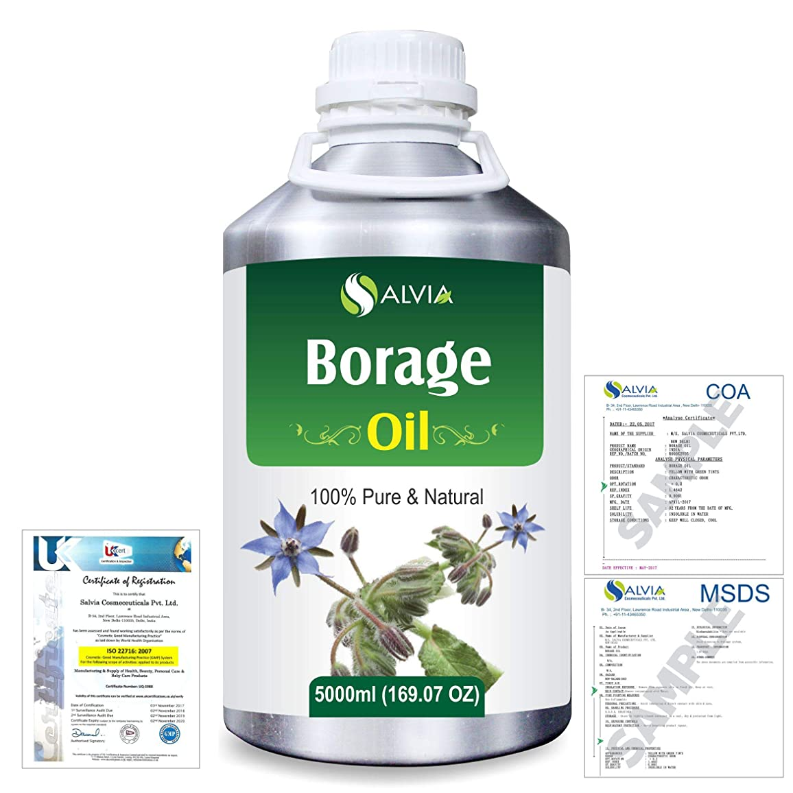 シェフスリチンモイなだめるBorage (Borago officinalis) Natural Pure Undiluted Uncut Carrier Oil 5000ml/169 fl.oz.