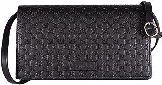 c7adfd0fe77 Gucci Women s Leather Micro GG Guccissima Mini Crossbody Wallet Bag Purse  (Black)