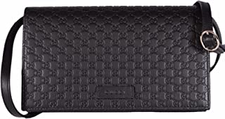 Women's Leather Micro GG Guccissima Mini Crossbody Wallet Bag Purse (Black)