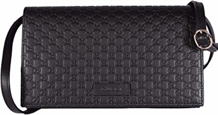 58520d4fda4c Gucci Women's Leather Micro GG Guccissima Mini Crossbody Wallet Bag Purse  (Black)