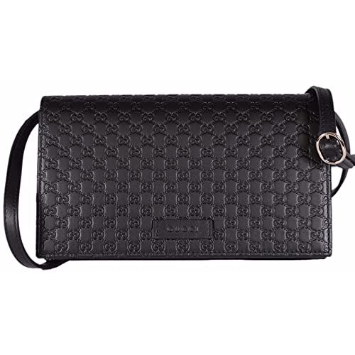 4f3302d9eede Gucci Women s Leather Micro GG Guccissima Mini Crossbody Wallet Bag Purse ( Black)