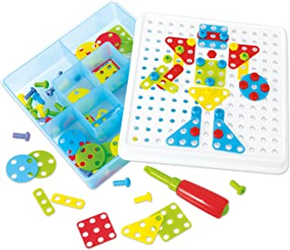 PlayGo Build Educational Construction and Mosaic STEM Pieces Preschool Engineering Toy Building Blocks Board Game for 3, 4, 5 6+ Year O