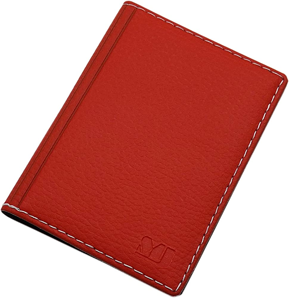 Myledershop, porta carte di credito, in pelle sintetica, rosso