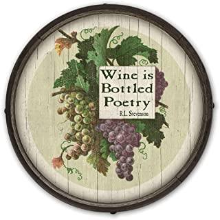 OldWoodSigns Barel End Wine is Bottled Poetry 23x23 inch Barrel End Ready to Hang Vintage Retro Rustic Decor Sign Wall Art Perfect for Home Cabin Vacation Lake Beach House