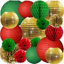 NICROLANDEE Christmas Party Decorations - 18PCS Merry Christmas Party Pack Red Green Gold Pack Tissue Pom Poms Flowers Ball Hanging Gold Glitter Paper Lanterns for Home Xmas Background Wall Decor