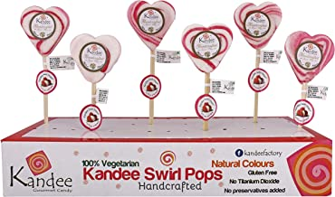 Kandee Sweet Heart Litchi (Pack of 6 Natural Colour Candy Lollipop)