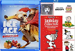 Flying Ace Snoopy Original Peanuts Holiday Cartoon Collection Charlie Brown Christmas Blu Ray Exclusive Pocket Pilot Pop Figure / Thanksgiving & Great Pumpkin + Ice Age Mammoth Special Pack 4 movies