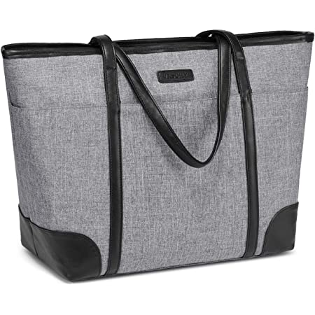 Laptop Handtasche Damen, VASCHY Groß 15.6-17 Zoll Notebooktasche Wasserabweisend Laptop Tasche Shopper Tote Bag Schultertasche Aktentasche für Arbeit Reise Lehrer mit Gepäckband-Grau