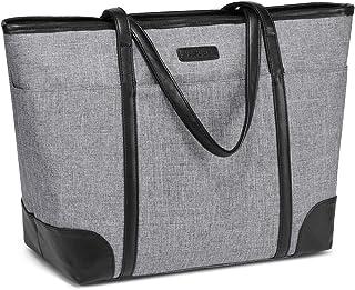 Laptop Handtasche Damen, VASCHY Groß 15.6-17 Zoll Notebooktasche Wasserabweisend Laptop Tasche Shopper Tote Bag Schulterta...