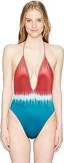 Junior's Dip Dye Plunge Neck Mio One Piece Swimsuit
