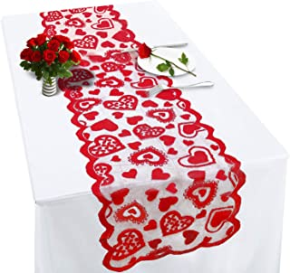 Valentines Table Runner Red Heart Print Valentines Day Decorations 1372 Inch Lace Love Table Runner for Home Wedding Part...