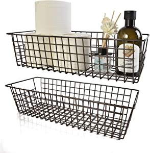 Wire Storage Baskets, 2 Pack Farmhouse Metal Wire Rustic Toilet Paper Basket, Food Organizer Bins with Handles for Kitchen Cabinets, Pantry, Closets, Bedrooms, Bathrooms, Office, Garage (Bronze)