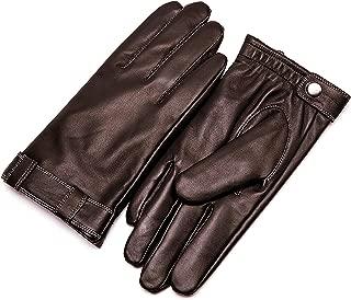 Men's Touchscreen Warm Fur Lined Sheepskin Leather Gloves