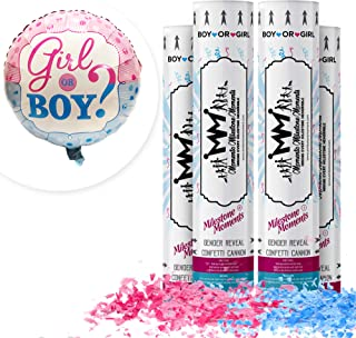 Gender Reveal Confetti Cannon Bundle- Baby Reveal Party Supplies with 18 inch Gender Reveal Boy or Girl Balloon (4 Pack, Blue & Pink)