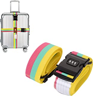 Bluecell Adjustable Luggage Strap Cross Travel Suitcase Packing Belt Baggage Security Strap with Combination Lock