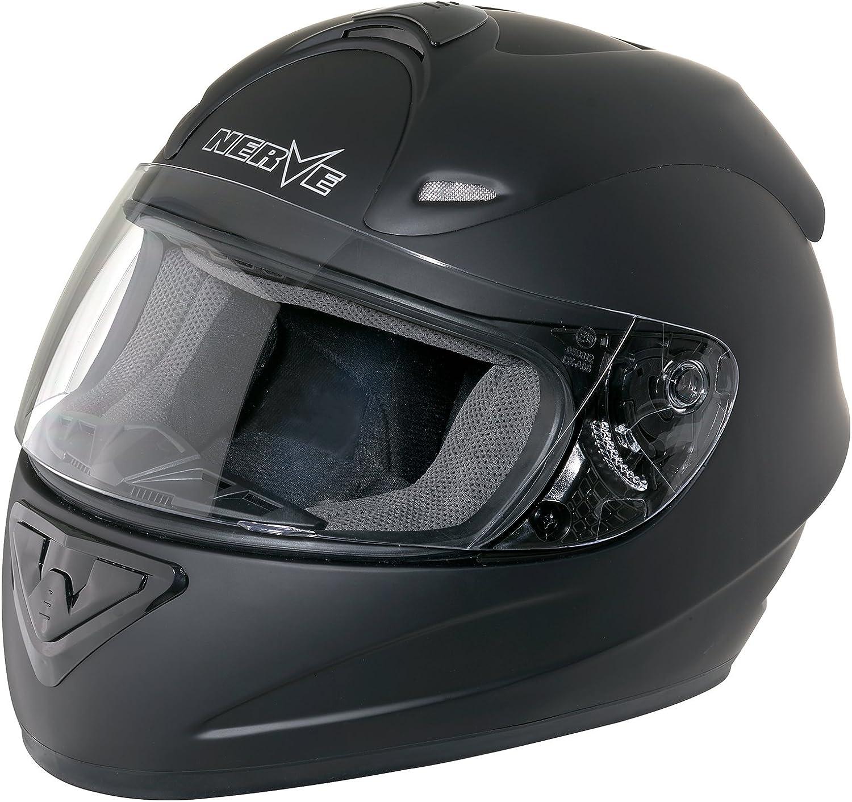 Nerve Shop Motorradhelm Integralhelm Ns2013 Vollvisierhelm Fullface Motorrad Helm Mofa Motorroller Damen Herren Erwachsene Schwarz Blau Xxl 2xl Auto