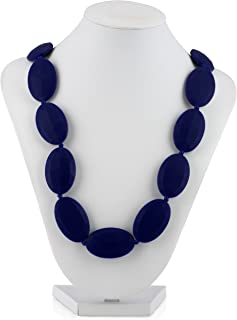 Nuby Teething Trends Oval Beads Necklace, Navy