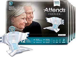 Attends Premier Briefs With Dry Lock Containment Core For Adult Incontinence Care Unisex, Large, 48 Count