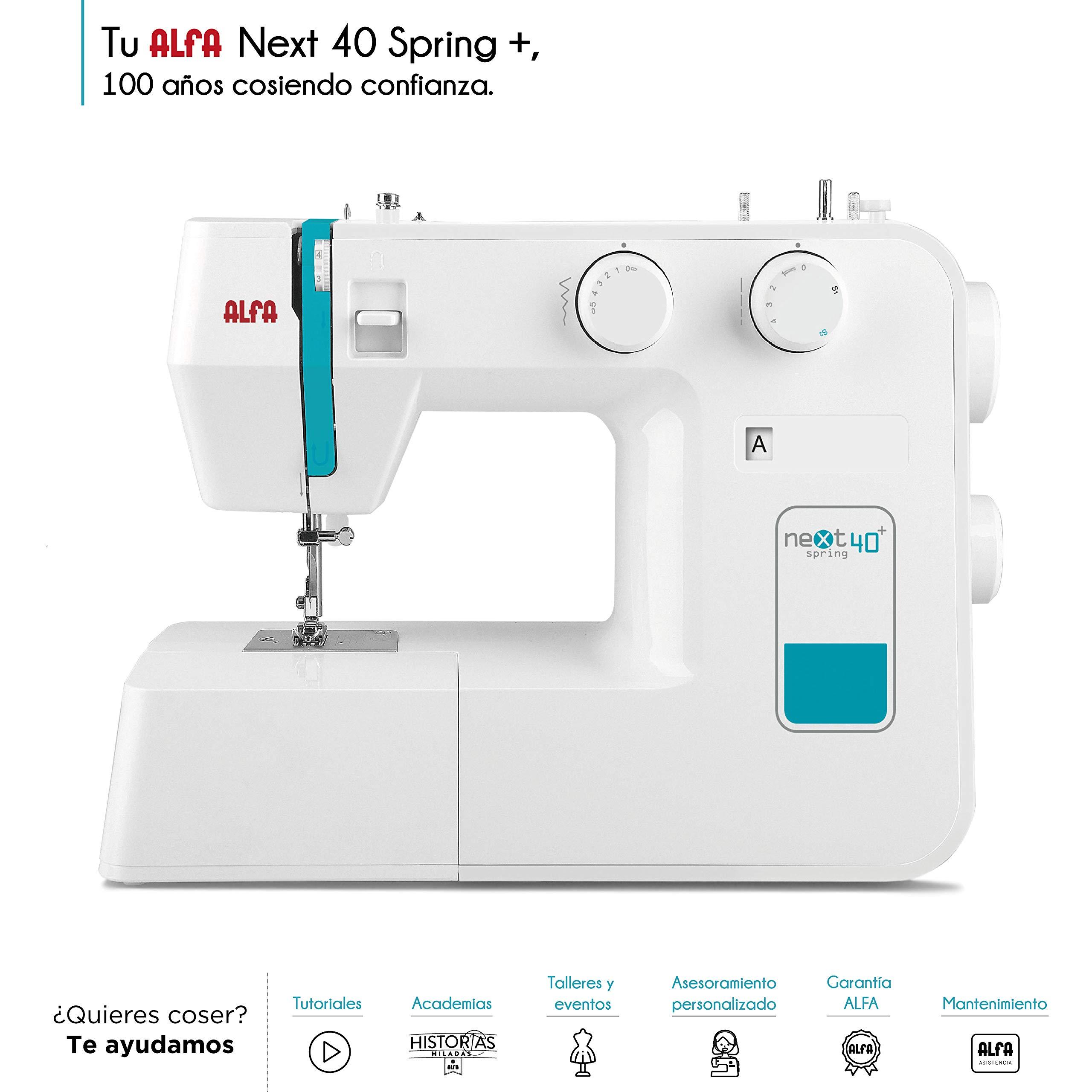 Alfa NEXT 40 Spring - Máquina de coser con 25 puntadas, color azul cielo: Amazon.es: Hogar