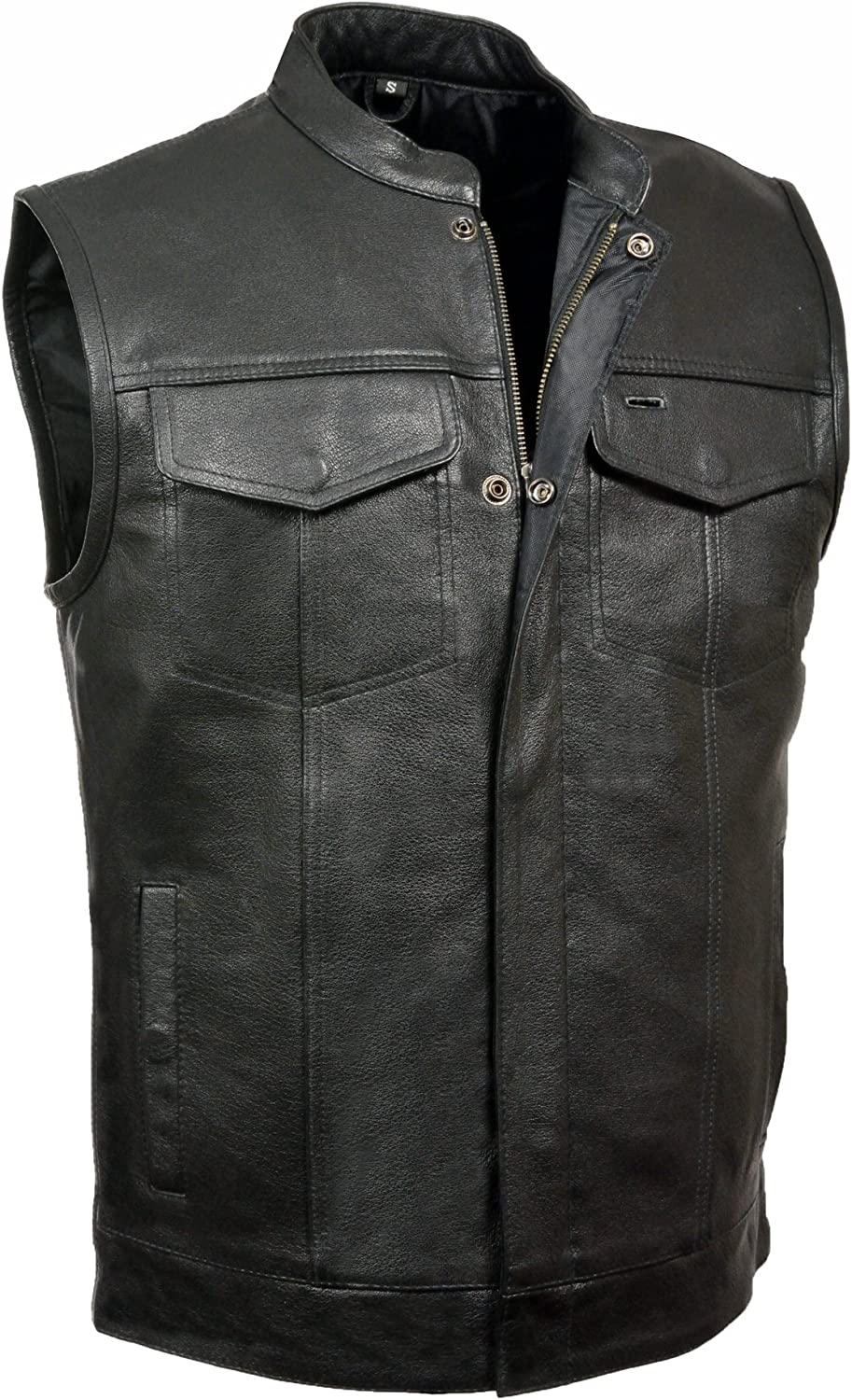 Milwaukee Leather V3710 Club Vest with Front Zipper and Open Collar Design