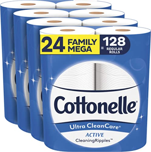 Cottonelle Ultra CleanCare Soft Toilet Paper with Active Cleaning Ripples, 24 Family Mega Rolls, Strong Bath Tissue (...