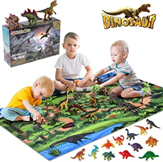 Giftinthebox Dinosaur Toys, Large 31.5 x 47.3 Inch Play Mat with 21 Realistic Looking Dinosaurs Including T-Rex, Triceratops, Velociraptor, Great Gifts for Kids 3 Year Olds and Up