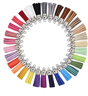 35 Colors 40 mm Suede Tassel for Keychain Cellphone Straps Jewelry Charms,70 pcs Leather Tassels DIY Accessories